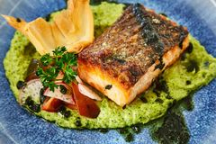 El pedazo graso asado jugoso grande de filete de color salmón en un amortiguador del puré vegetal, adornado con el rábano, pereji Fotos de archivo