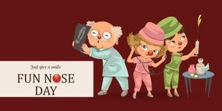 El pediatra de la historieta examina el cartel del niño Libre Illustration