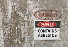 El peligro rojo, blanco y negro, contiene la señal de peligro del amianto Imágenes de archivo libres de regalías