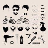 El pelo de la barbería cortó la barba plana móvil del corte de pelo del inconformista del vector del app Imagen de archivo