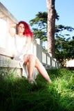 El pelo rojo punky diseñó adolescente Foto de archivo libre de regalías
