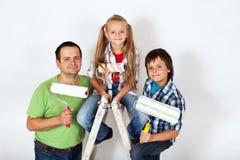 El pelotón de las mejoras para el hogar - aliste para pintar un cuarto Imagen de archivo libre de regalías