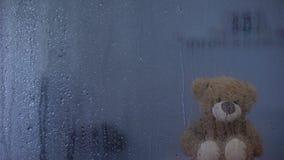 El peluche refiere el travesaño detrás de la ventana lluviosa en símbolo del orfelinato, de la esperanza y de la ayuda metrajes