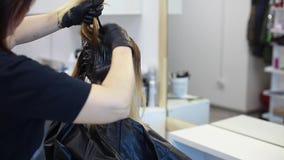 El peluquero aplica el tinte de pelo en la opinión general del pelo metrajes
