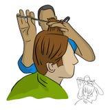 El peluquero del primer hace el pelo que diseña en vector de la peluquería de caballeros Imágenes de archivo libres de regalías