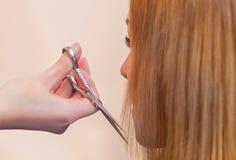 El peluquero hace un corte de pelo con las tijeras del pelo a una chica joven imagenes de archivo