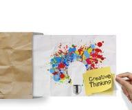 El pensamiento creativo en nota pegajosa con el chapoteo colorea el cr de la bombilla Imagen de archivo libre de regalías