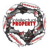 El pensamiento de la propiedad intelectual se nubla el Co protegido las ideas creativas Fotos de archivo