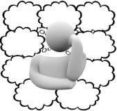 El pensamiento del pensador se nubla las burbujas que piensan a Person Many Ideas Blank Imagen de archivo