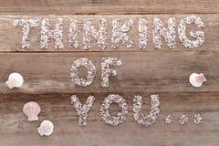 El pensamiento en usted redacta los guijarros escritos en la madera vieja Imagen de archivo libre de regalías