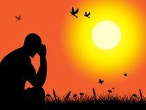 El pensamiento presionado indica esperanza y la desesperación perdidas stock de ilustración