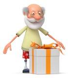 El pensionista 3D con un regalo libre illustration