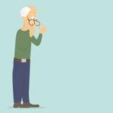 El pensionista (viejo hombre) piensa en un problema grave: falta de dinero, atención, comunicación, salud ilustración del vector