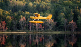 El pequeño aeroplano amarillo en pontón viene adentro para un aterrizaje en un lago tranquilo Fotos de archivo libres de regalías
