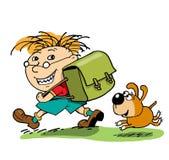 El pequeño alumno va a la escuela Imágenes de archivo libres de regalías