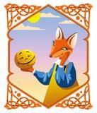 El pequeño bollo y el Fox ilustración del vector