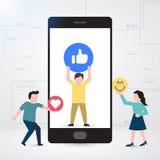 El pequeño carácter de la gente adornó smartphone en medios sociales libre illustration