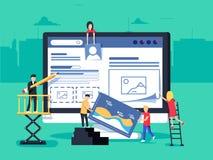 El pequeño carácter de la gente adornó tecnología del negocio del web diseño plano del ejemplo del concepto del vector libre illustration
