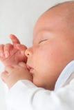 El pequeño dormir del bebé Imágenes de archivo libres de regalías