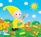 El pequeño gnomo taja la leña libre illustration