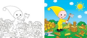 El pequeño gnomo taja la leña stock de ilustración