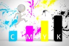 el pequeño hombre 3d salta en colores del cmyk Fotografía de archivo libre de regalías
