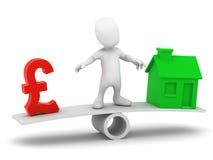 el pequeño hombre 3d equilibra libras y la vivienda BRITÁNICAS stock de ilustración