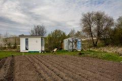 El pequeño invernadero con las puertas se abrió, pequeños casa del jardín y armch Foto de archivo libre de regalías