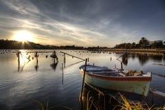 El pequeño lago de Ganzirri Imagen de archivo libre de regalías