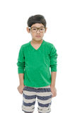 El pequeño muchacho asiático está llevando los vidrios, aislados Imágenes de archivo libres de regalías