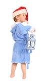 El pequeño muchacho con la linterna Imágenes de archivo libres de regalías