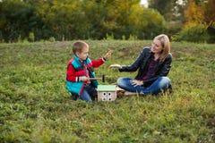 El pequeño muchacho con la madre en bosque del otoño recolectó el woode Fotos de archivo libres de regalías