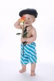 El pequeño muchacho divertido con subió en blanco Imagen de archivo libre de regalías