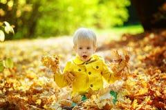 El pequeño muchacho feliz en chaqueta amarilla está jugando con las hojas Imágenes de archivo libres de regalías