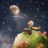 El pequeño príncipe con una rosa en un planeta en cielo nocturno hermoso Fotografía de archivo libre de regalías