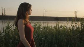 el perfil de la silueta de la muchacha hermosa que camina a lo largo del riverbank con las cañas en la puesta del sol, mujer lind almacen de metraje de vídeo