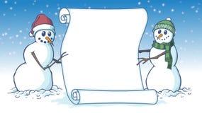 El pergamino en blanco de la tarjeta de la voluta de la Feliz Navidad se sostuvo al lado de dos muñecos de nieve ilustración del vector
