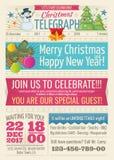 El periódico de Papá Noel del vintage con los elementos del texto y del gráfico del saludo de la Feliz Navidad vector la plantill Imagen de archivo
