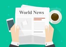 El periódico en manos vector el ejemplo, noticias planas de la lectura de la persona de la historieta en periódico mientras que o Imagen de archivo libre de regalías