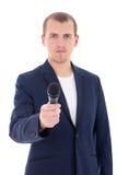 El periodista del reportero de las noticias se entrevista con a una persona que soporta el micr Imagenes de archivo