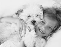 El perrito abraza mono imagen de archivo