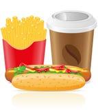 El perrito caliente fríe la patata y la taza de papel con café Imagen de archivo libre de regalías
