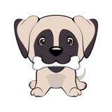 el perrito feliz con un hueso agita una cola ilustración del vector