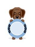 El perrito hambriento sostiene un cuenco Ilustración libre illustration