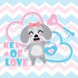 El perrito lindo consigue el candado del corazón y la historieta del vector de la llave Imagen de archivo