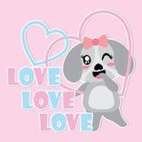 El perrito lindo sonríe en el ejemplo de la historieta del vector del marco del amor Fotografía de archivo libre de regalías