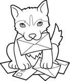 El perrito trajo una letra stock de ilustración