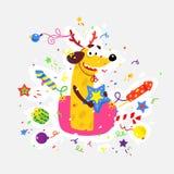 El perro amarillo es el símbolo del Año Nuevo chino Ejemplo plano del vector de un perro con las galletas, fuegos artificiales, l libre illustration