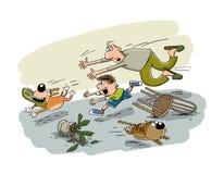 El perro asió los zapatos fotografía de archivo libre de regalías
