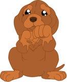 El perro basset lindo de la historieta saluda stock de ilustración